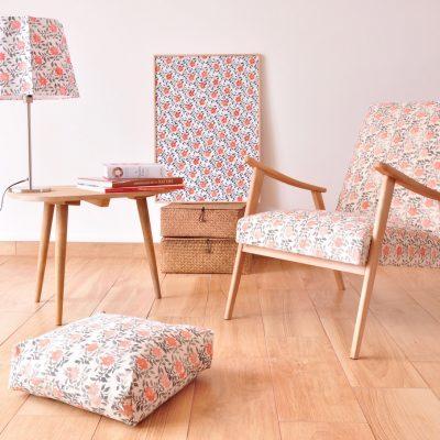 Collection Brise de Inkree, tissus imprimés à la main pour confectionner les abat-jour et les mobiliers.