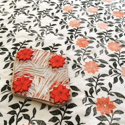 Impression artisanale au bloc par Inkree-motif fleuri